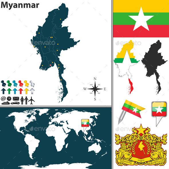 Map of Myanmar - Travel Conceptual