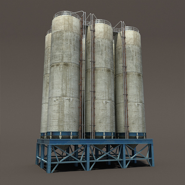 Chemical Silos Low Poly 3d Moldel - 3DOcean Item for Sale