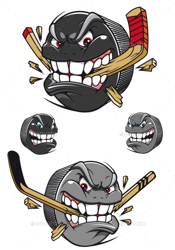 Angry Evil Hockey Puck Chomping a Stick - Characters Vectors