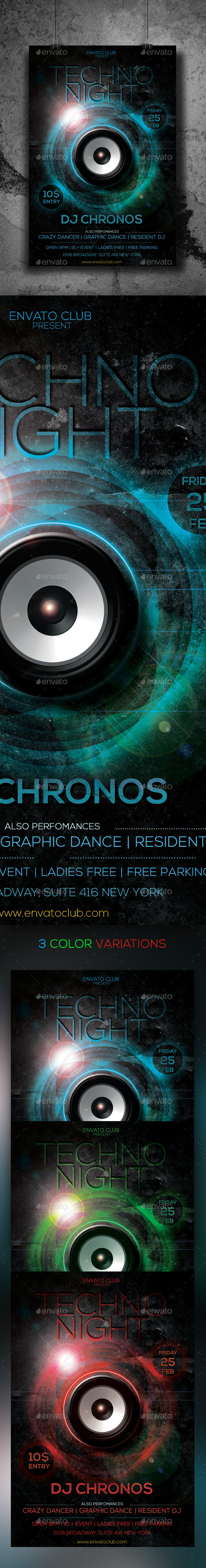 Techno Night Flyer - Clubs & Parties Events