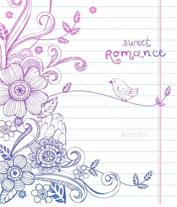 Hand-Drawn Sketch Floral Composition - Valentines Seasons/Holidays