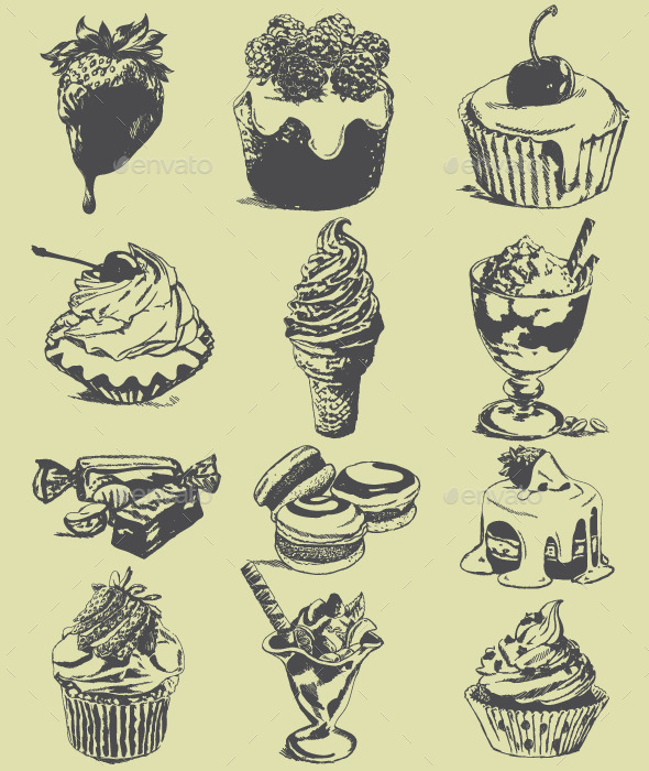 Set of Sweet Sketches of Food - Food Objects