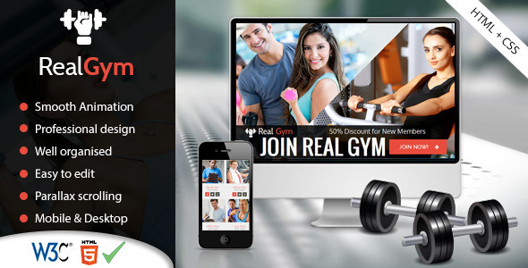 RealGym - Health And Fitness Template - HTML CSS