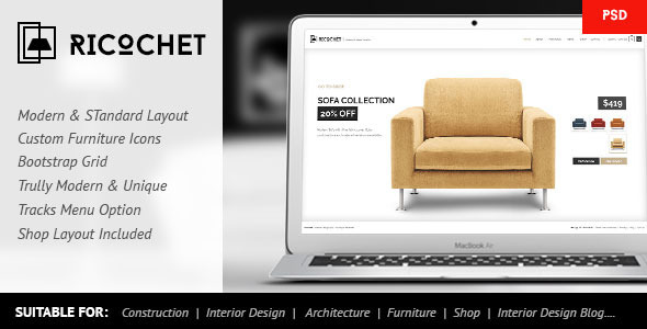 Ricochet - Interior, Architecture, Shop, Corporate - Creative PSD Templates