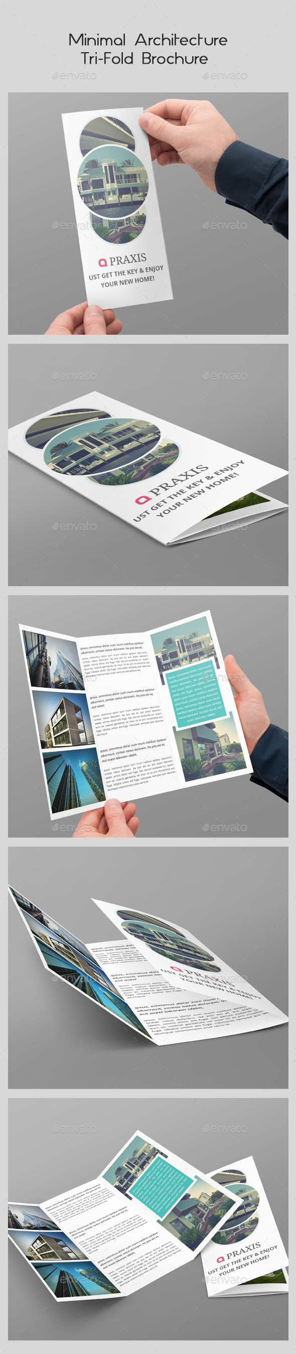 Minimal Architecture Tri-Fold Brochure  - Brochures Print Templates