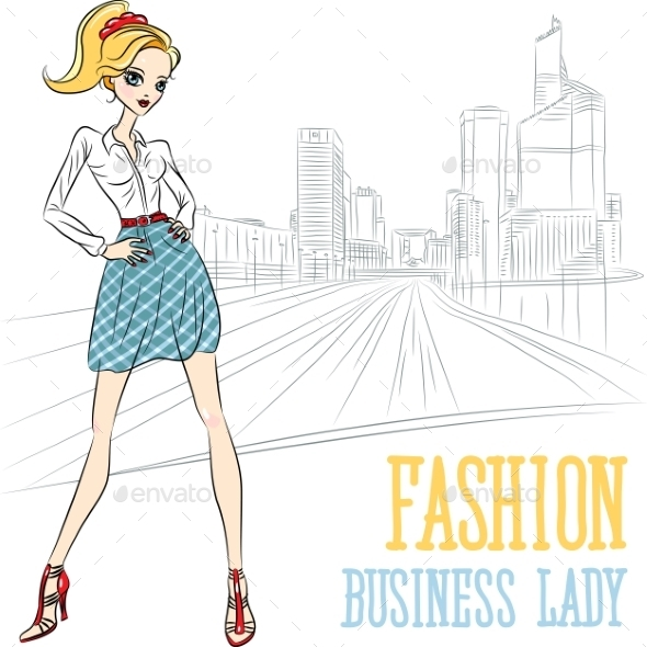 Fashion Business Girl in Defense - People Characters