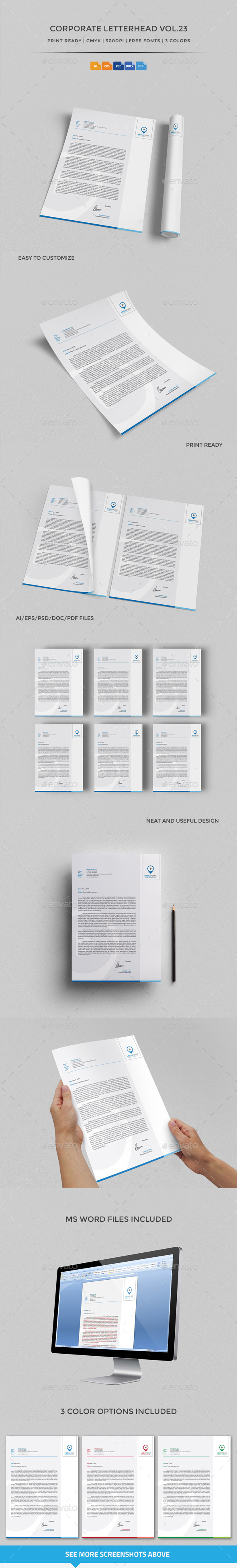 Corporate Letterhead vol.23 with MS Word DOC/DOCX - Stationery Print Templates