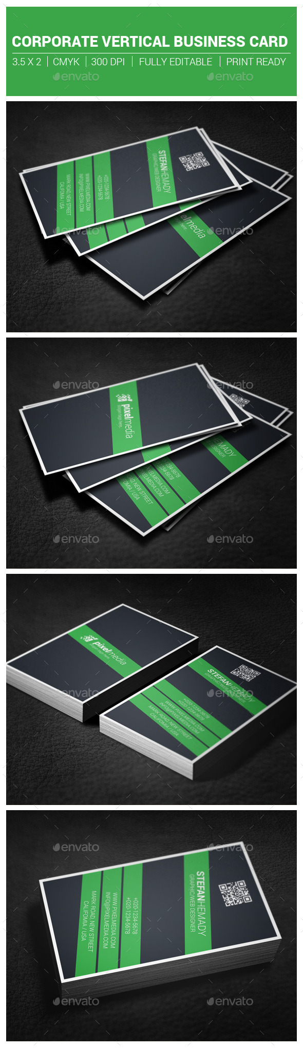 Corporate Vertical Business Card - Corporate Business Cards