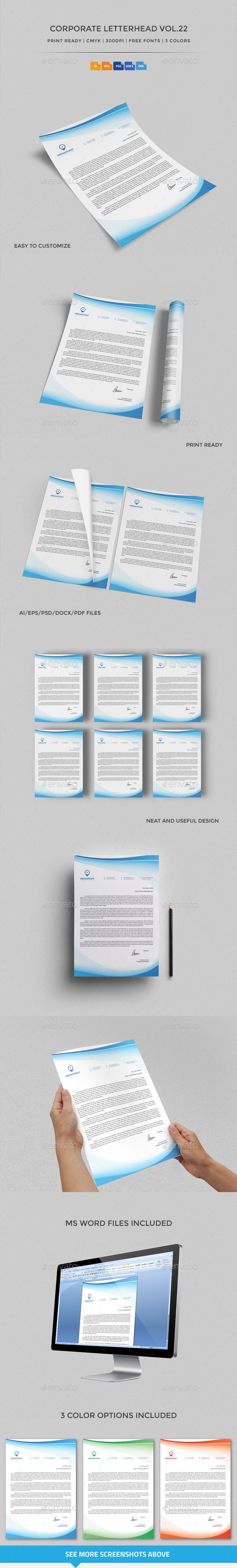 Corporate Letterhead vol.22 with MS Word DOC/DOCX - Stationery Print Templates