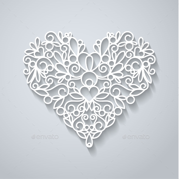 Paper Heart with Shadow - Decorative Vectors