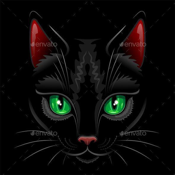 Black Cat Portrait  - Animals Characters