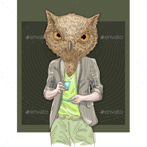 Owl Man Drinking Coffee - Miscellaneous Characters