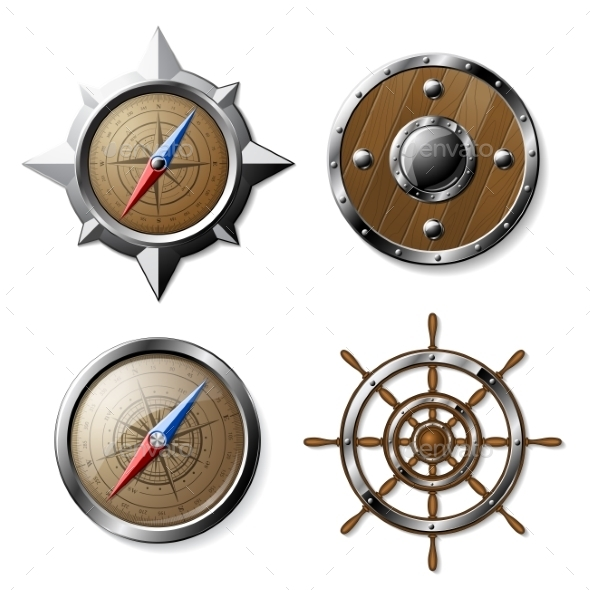 Set of Steel and Wooden Nautical Elements - Miscellaneous Vectors