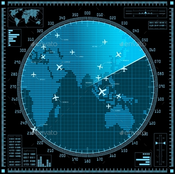 Blue Radar Screen with Planes and World Map - Technology Conceptual