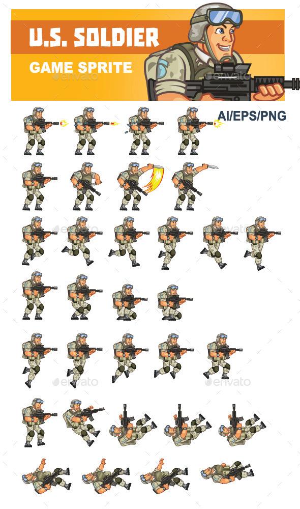 U.S. Soldier Game Sprite - Sprites Game Assets
