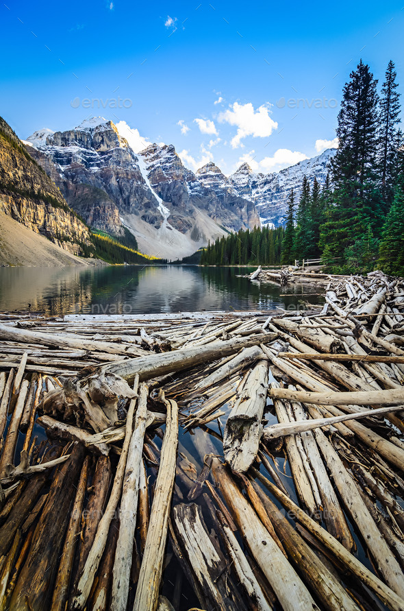 Landscape view of Moraine lake and mountais in Canadian Rockies - Stock Photo - Images