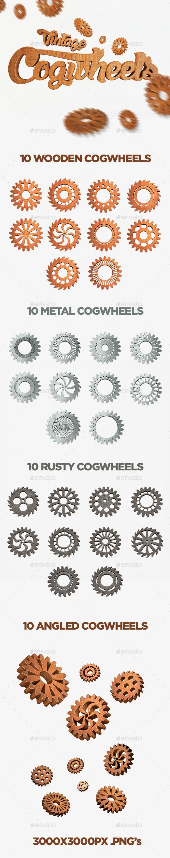 Vintage Cogwheels Set - Objects 3D Renders