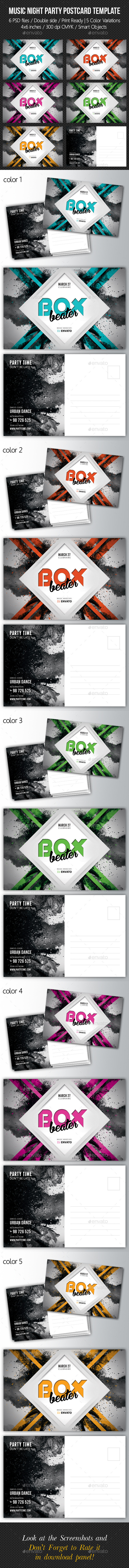 Music Night Party Postcard Template V03 - Cards & Invites Print Templates