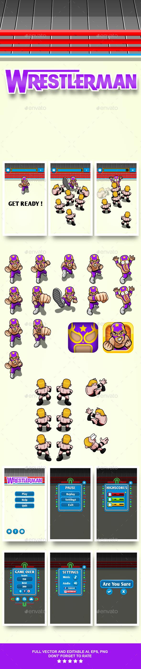 Game Assets Wrestler Man - Game Kits Game Assets