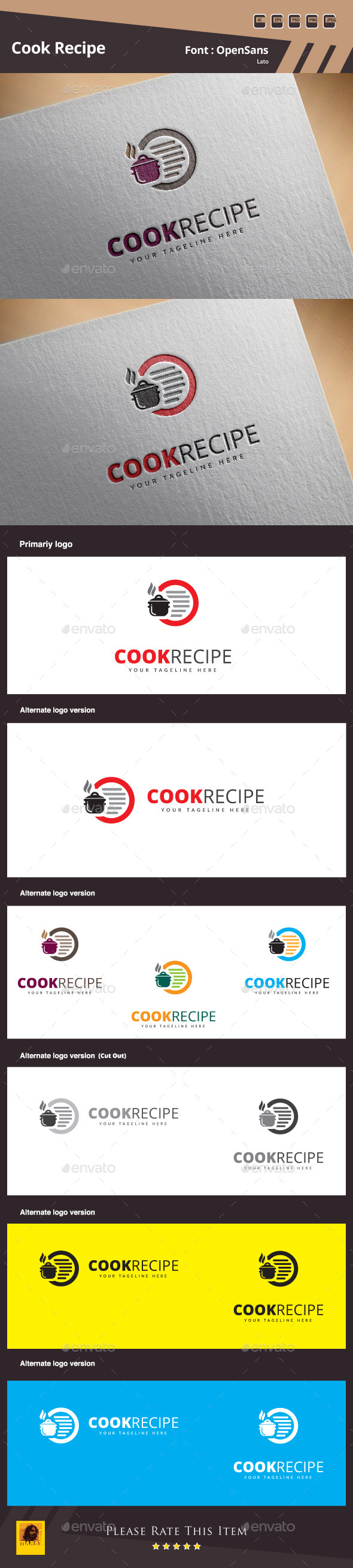 Cook Recipe Logo Template - Food Logo Templates
