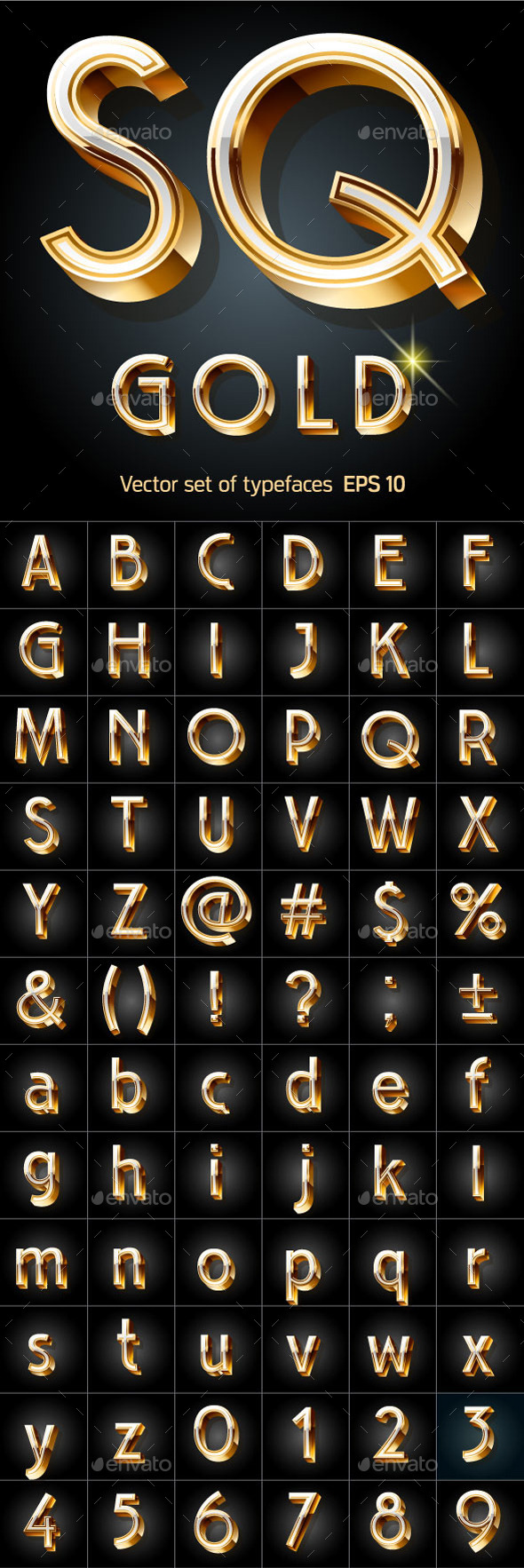 Illustration of Golden 3D Alphabet - Decorative Symbols Decorative