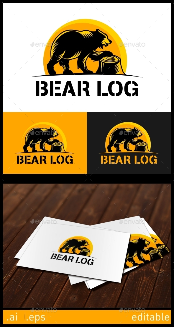 Bear Log Logo Template - Animals Logo Templates