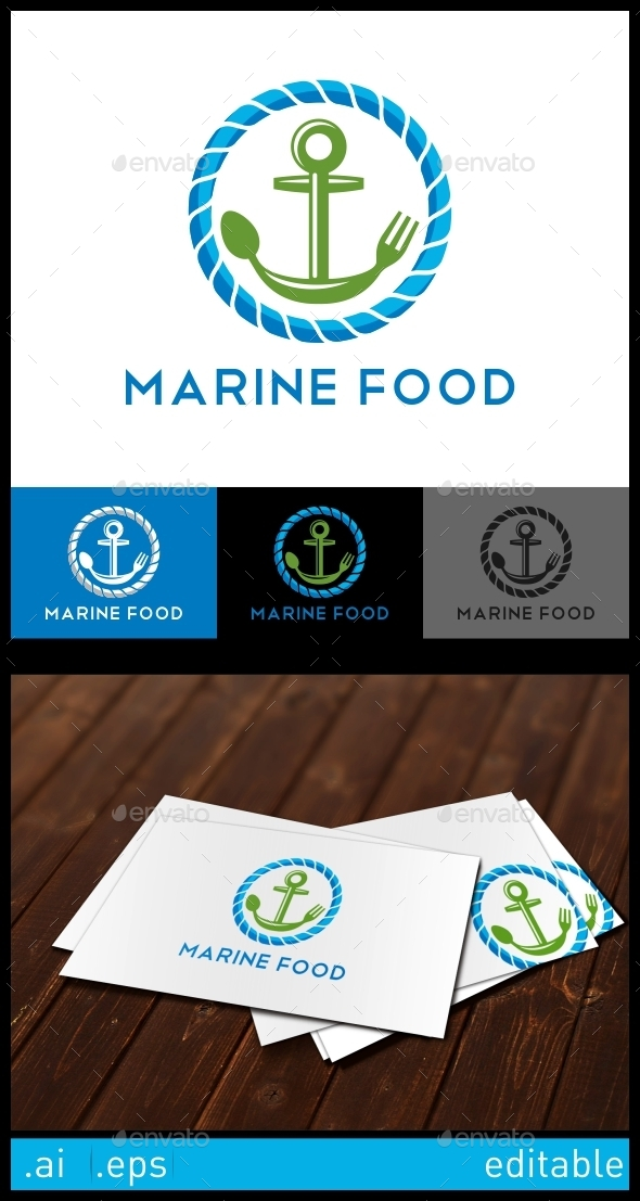 Marine Food Seafood Logo Template - Crests Logo Templates
