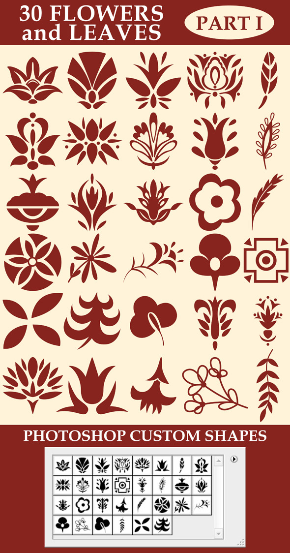 Flowers and leaves custom shapes - Symbols Shapes