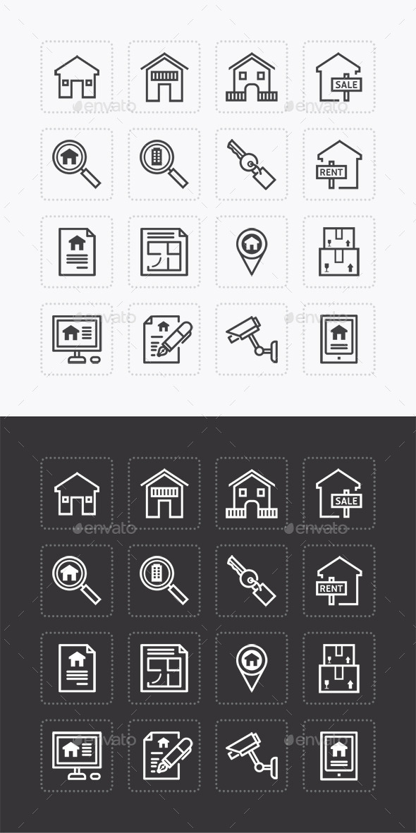 Vector Flat Icons Set Real Estate Property Outline - Business Icons