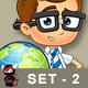 Smart School Boy Character - Set 2 - GraphicRiver Item for Sale