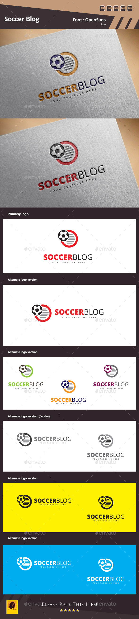 Soccer Blog Logo Template - Objects Logo Templates