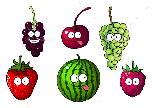 Happy Colorful Cartoon Fruits and Berries - Miscellaneous Characters