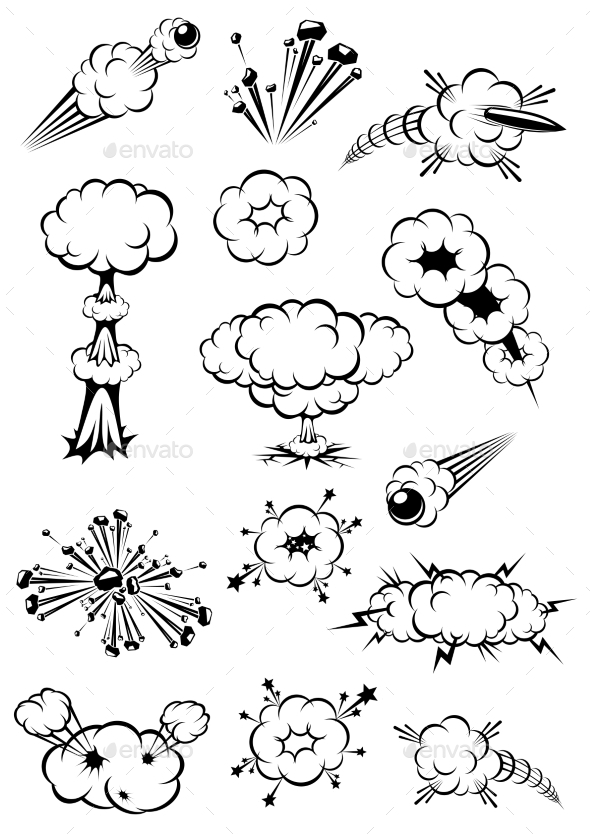 Cartoon Black and White Explosions - Miscellaneous Vectors