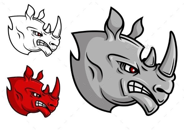 Fierce Cartoon Rhino Head - Animals Characters