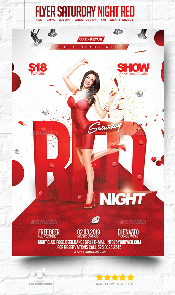 Flyer Saturday Night Red - Clubs & Parties Events