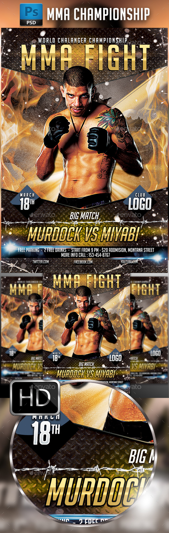MMA Fighting Flyer Template #4 - Sports Events