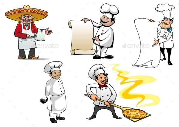 International Chefs Cartoon Characters - People Characters