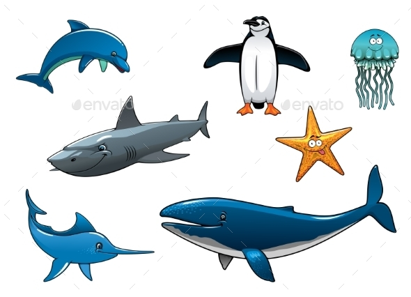 Marine Wildlife Colored Animal Characters - Animals Characters