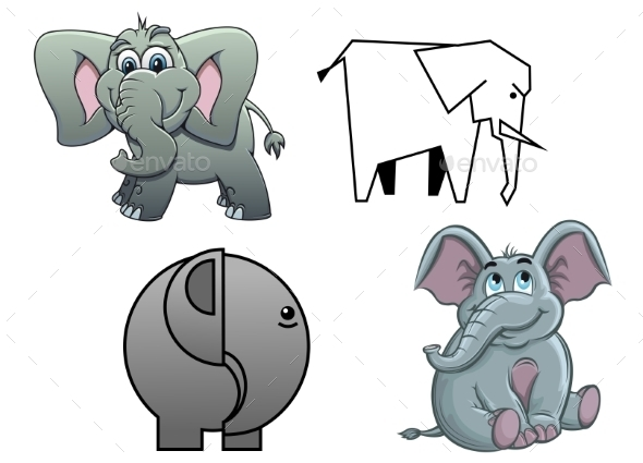 Cartoon Baby Elephants - Animals Characters
