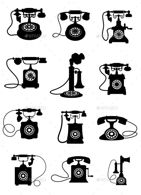 Silhouette of Vintage Telephones - Communications Technology