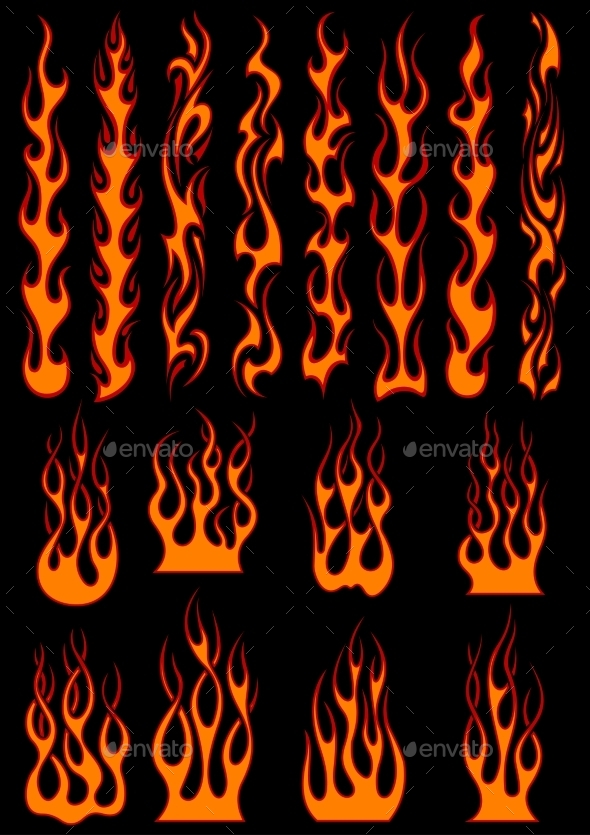 Various Fiery Flames in Tribal Style - Tattoos Vectors