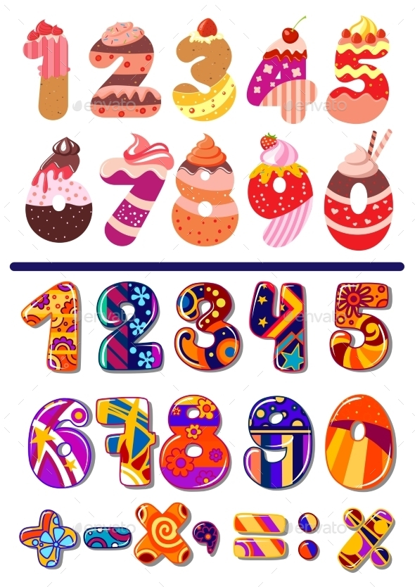 Colorful Sets of Numbers or Digits - Decorative Symbols Decorative