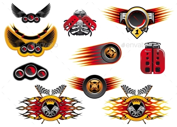 Colorful Motor Sport and Racing Icons - Sports/Activity Conceptual