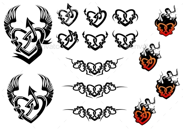Entwined Hearts Tattoos with Wings and Flames - Tattoos Vectors