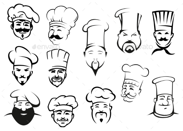 European, American and Asian Chefs in Toques - People Characters