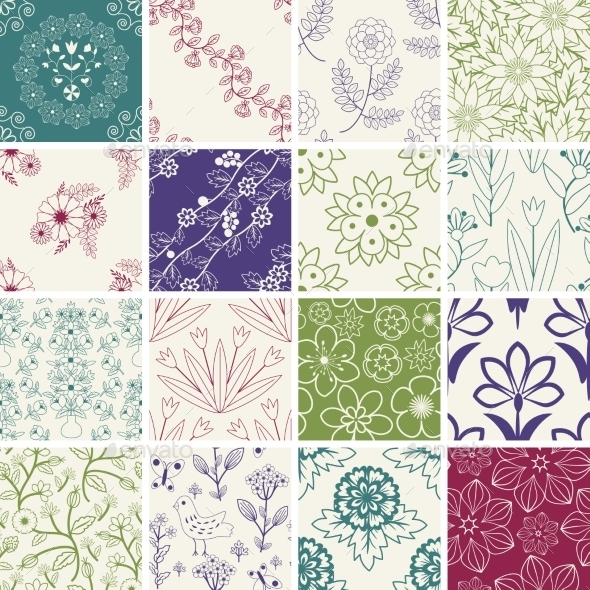Seamless Patterns - Flowers & Plants Nature