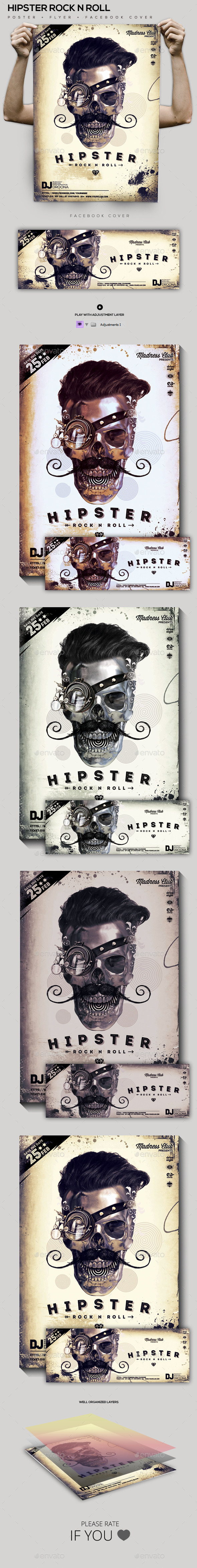 Hipster Rock N Roll Party Flyer/Poster/FB Cover - Clubs & Parties Events