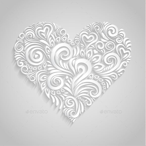White Paper Floral Heart  - Valentines Seasons/Holidays