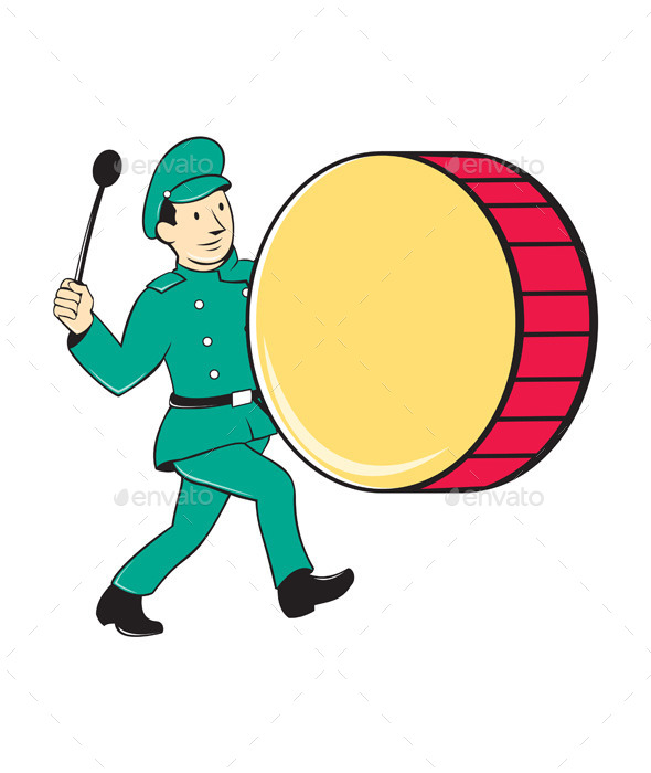 Marching Band Drummer Beating Drum - People Characters