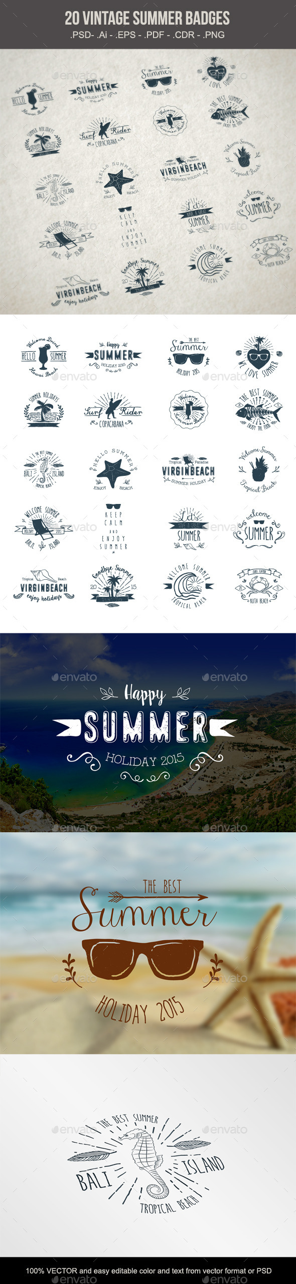 20 Summer Badges - Retro Technology